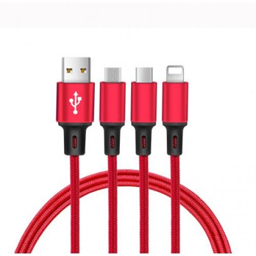 Интерфейсный кабель-хаб 3в1 (USB - Lightning/MicroUSB/Type-C) в тканевой оплетке 1.2м Белый