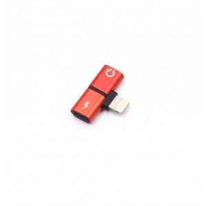 Матовый металлический аудиоразветвитель Lightning для наушников и одновременной зарядки Красный