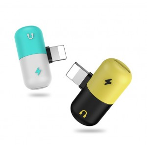 Аудиоразветвитель Lightning дизайн Пилюля для наушников и одновременной зарядки