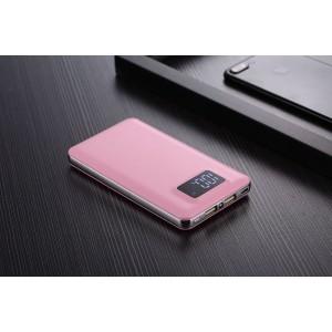 Тонкое 15мм портативное зарядное устройство 8000 mAh с 2 разъемами (1А, 2.1А), LCD-экраном и LED-фонариком Розовый