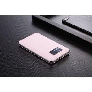Тонкое 15мм портативное зарядное устройство 8000 mAh с 2 разъемами (1А, 2.1А), LCD-экраном и LED-фонариком Белый