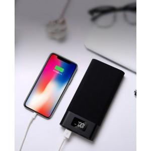 Портативное зарядное устройство 10400 mAh в алюминиевом корпусе с LCD-экраном, LED-фонариком, двумя разъемами USB (5V/2.1А) и возможностью зарядки от Lightning Черный