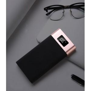 Портативное зарядное устройство 10400 mAh в алюминиевом корпусе с LCD-экраном, LED-фонариком, двумя разъемами USB (5V/2.1А) и возможностью зарядки от Lightning Розовый