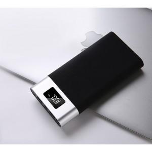 Портативное зарядное устройство 10400 mAh в алюминиевом корпусе с LCD-экраном, LED-фонариком, двумя разъемами USB (5V/2.1А) и возможностью зарядки от Lightning Серый