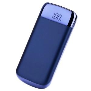 Портативное зарядное устройство 10000 mAh с 2-я USB разъемами (5V/2.1А), LCD-экраном и LED-фонариком Синий