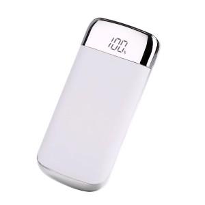 Портативное зарядное устройство 10000 mAh с 2-я USB разъемами (5V/2.1А), LCD-экраном и LED-фонариком Белый