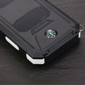 Портативное зарядное устройство 10000mAh в противоударном пылевлагозащищенном корпусе c солнечной батареей, LED-фонариком, 2 разъемами USB (1А+2.1А), встроенным компасом, петлей для карабина и индикатором заряда Белый