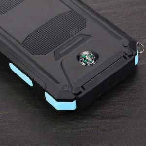 Портативное зарядное устройство 10000mAh в противоударном пылевлагозащищенном корпусе c солнечной батареей, LED-фонариком, 2 разъемами USB (1А+2.1А), встроенным компасом, петлей для карабина и индикатором заряда Синий