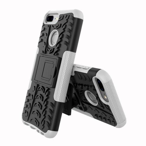Противоударный двухкомпонентный силиконовый матовый непрозрачный чехол с нескользящими гранями и поликарбонатными вставками экстрим защиты с встроенной ножкой-подставкой для Huawei Honor 9 Lite  Черный