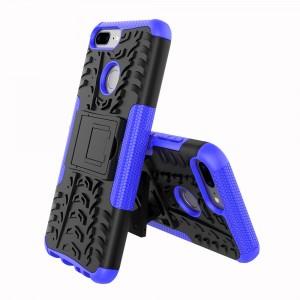 Противоударный двухкомпонентный силиконовый матовый непрозрачный чехол с нескользящими гранями и поликарбонатными вставками экстрим защиты с встроенной ножкой-подставкой для Huawei Honor 9 Lite  Синий