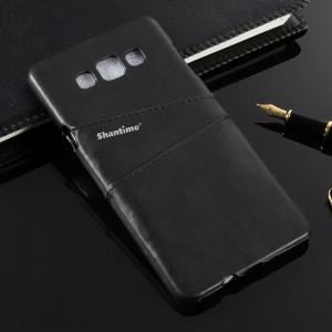 Пластиковый непрозрачный матовый чехол накладка с отсеком для карт и текстурным покрытием Кожа для Samsung Galaxy A8  Черный