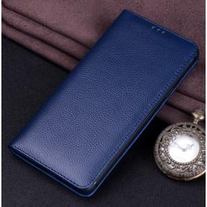 Кожаный чехол горизонтальная книжка (премиум нат. кожа) для Huawei Honor 8X Синий