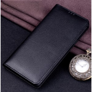 Кожаный чехол горизонтальная книжка (премиум нат. кожа) для Huawei Honor 8X Черный