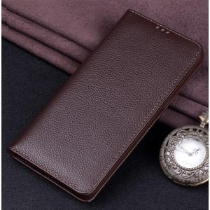 Кожаный чехол горизонтальная книжка (премиум нат. кожа) для Huawei Honor 8X Коричневый
