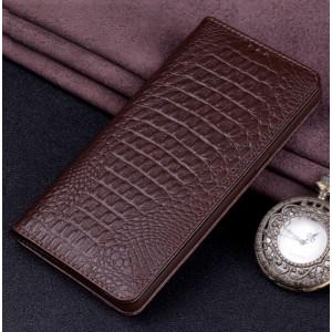 Кожаный чехол горизонтальная книжка (премиум нат. кожа крокодила) для Huawei Honor 8X  Коричневый