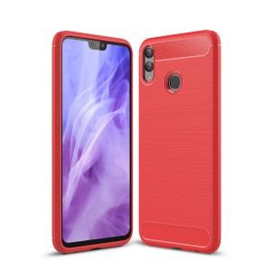 Силиконовый матовый непрозрачный чехол с текстурным покрытием Металлик для Huawei Honor 8X Красный