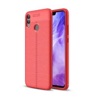 Силиконовый матовый непрозрачный чехол с текстурным покрытием Кожа для Huawei Honor 8X Красный
