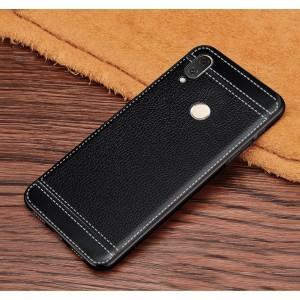 Силиконовый матовый непрозрачный чехол с текстурным покрытием Кожа для Huawei Honor 8X  Черный