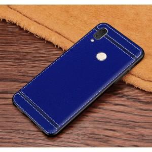 Силиконовый матовый непрозрачный чехол с текстурным покрытием Кожа для Huawei Honor 8X  Синий