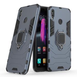 Противоударный двухкомпонентный силиконовый матовый непрозрачный чехол с поликарбонатными вставками экстрим защиты с встроенным кольцом-подставкой для Huawei Honor 8X Синий