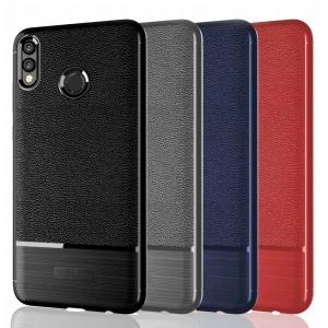 Силиконовый матовый непрозрачный чехол с улучшенной защитой элементов корпуса и текстурным покрытием Кожа для Huawei Honor 8X