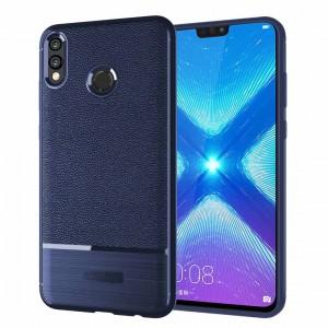 Силиконовый матовый непрозрачный чехол с улучшенной защитой элементов корпуса и текстурным покрытием Кожа для Huawei Honor 8X Синий