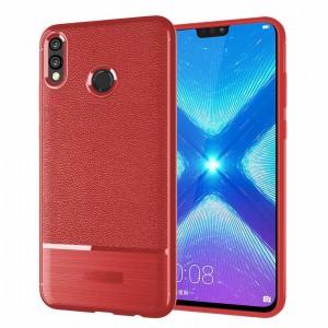 Силиконовый матовый непрозрачный чехол с улучшенной защитой элементов корпуса и текстурным покрытием Кожа для Huawei Honor 8X Красный