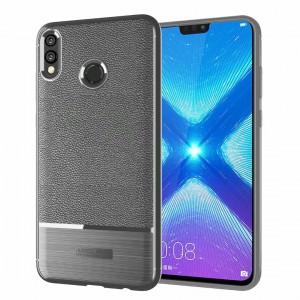 Силиконовый матовый непрозрачный чехол с улучшенной защитой элементов корпуса и текстурным покрытием Кожа для Huawei Honor 8X Серый