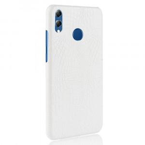 Пластиковый непрозрачный матовый чехол накладка с текстурным покрытием Кожа крокодила для Huawei Honor 8X Белый