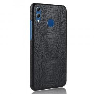 Пластиковый непрозрачный матовый чехол накладка с текстурным покрытием Кожа крокодила для Huawei Honor 8X Черный