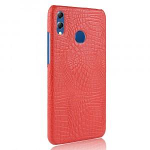 Пластиковый непрозрачный матовый чехол накладка с текстурным покрытием Кожа крокодила для Huawei Honor 8X Красный