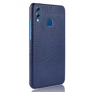 Пластиковый непрозрачный матовый чехол накладка с текстурным покрытием Кожа крокодила для Huawei Honor 8X Синий