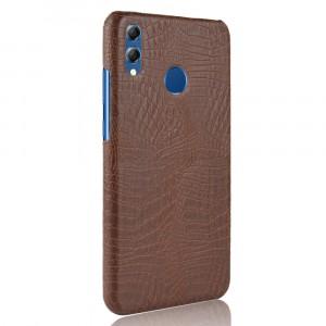 Пластиковый непрозрачный матовый чехол накладка с текстурным покрытием Кожа крокодила для Huawei Honor 8X Коричневый