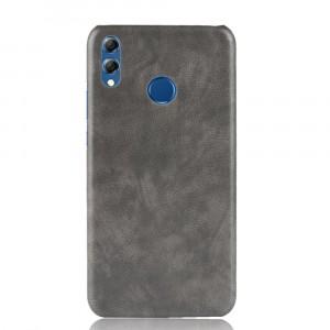 Пластиковый непрозрачный матовый чехол накладка с текстурным покрытием Кожа для Huawei Honor 8X Серый