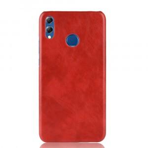 Пластиковый непрозрачный матовый чехол накладка с текстурным покрытием Кожа для Huawei Honor 8X Красный