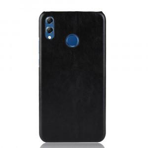 Пластиковый непрозрачный матовый чехол накладка с текстурным покрытием Кожа для Huawei Honor 8X Черный