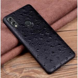 Кожаный чехол накладка (премиум нат. кожа страуса) для Huawei Honor 8X  Черный