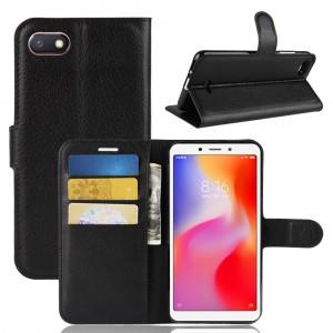 Чехол портмоне подставка на силиконовой основе с отсеком для карт на магнитной защелке для Xiaomi RedMi 6A Черный