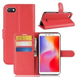 Чехол портмоне подставка на силиконовой основе с отсеком для карт на магнитной защелке для Xiaomi RedMi 6A Красный