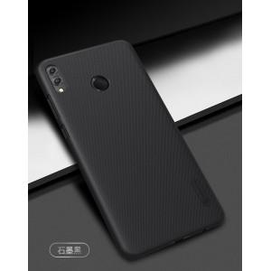 Пластиковый непрозрачный матовый нескользящий премиум чехол для Huawei Honor 8X  Черный