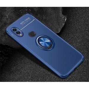Силиконовый матовый непрозрачный чехол с встроенным кольцом-подставкой для Huawei Honor 8X Синий