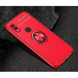 Силиконовый матовый непрозрачный чехол с встроенным кольцом-подставкой для Huawei Honor 8X Красный