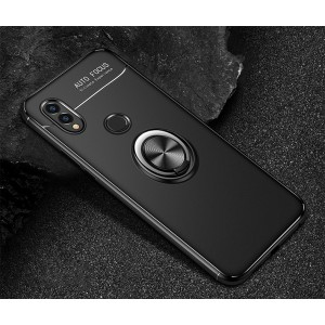 Силиконовый матовый непрозрачный чехол с встроенным кольцом-подставкой для Huawei Honor 8X Черный