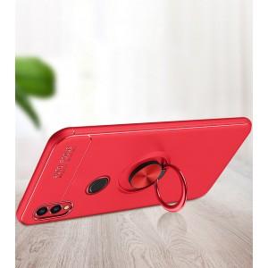 Силиконовый матовый непрозрачный чехол с встроенным кольцом-подставкой для Huawei Honor 8X