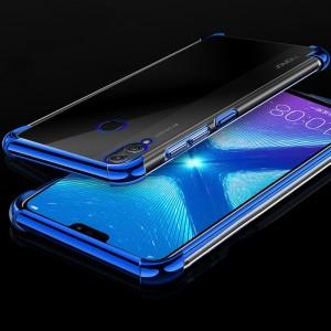 Силиконовый глянцевый полупрозрачный чехол с усиленными углами для Huawei Honor 8X Синий