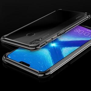 Силиконовый глянцевый полупрозрачный чехол с усиленными углами для Huawei Honor 8X Черный