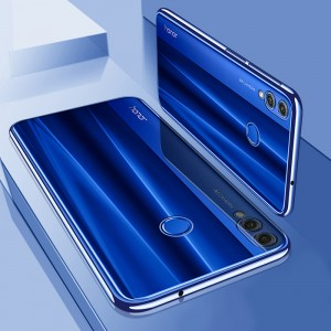 Силиконовый глянцевый полупрозрачный чехол для Huawei Honor 8X  Синий