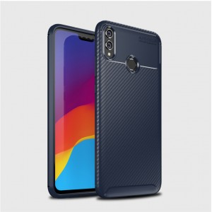 Силиконовый матовый непрозрачный чехол с текстурным покрытием Карбон для Huawei Honor 8X Синий