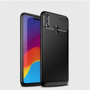 Силиконовый матовый непрозрачный чехол с текстурным покрытием Карбон для Huawei Honor 8X Черный