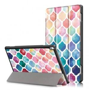 Сегментарный чехол книжка подставка текстура Узоры на непрозрачной поликарбонатной основе с магнитной защелкой для Lenovo Tab 4 10 Plus
